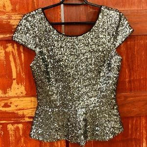 GB Silver Sequined Peplum Top